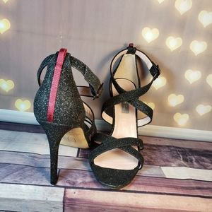 SJP glitter sandals crossed straps open toe back